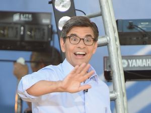"NEW YORK, NY - AUGUST 01: George Stephanopoulos waves to the crowd on ABC's ""Good Morning America"" at Rumsey Playfield, Central Park on August 1, 2014 in New York City. (Photo by Mike Coppola/Getty Images)"