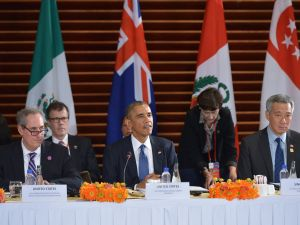 President Barack Obama speaks during a meeting with leaders from the Trans-Pacific Partnership at the US Embassy in Beijing.