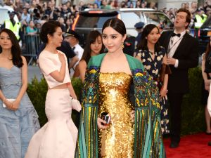 Actress and model Fan Bingbing in an ensemble by designer Christopher Bu. Photo: Kevin Mazur/WireImage