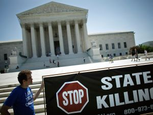 WASHINGTON - JUNE 29: Abolitionist Action Committee member Bo Chamberlin of Columbus, Ohio, fasts with other death penalty opponents in front of the U.S. Supreme Court June 29, 2009 in Washington, DC. AAC members will fast and hold a vigil to mark historic Supreme Court decisions in Furman v. Georgia, in which ruled on a consistency requirement for the death penalty, and Gregg v. Georgia, which upheld laws in various states to reinstate the death penalty. (Photo by Chip Somodevilla/Getty Images)
