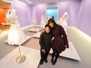 British topmodel Naomi Campbell (R) poses with French fashion designer Azzedine Alaia (L) in the Groninger Museum, in Groningen,on December 10, 2011. AFP PHOTO/ ANP/ MARCO DE SWART ***NETHERLANDS OUT - BELGIUM OUT*** (Photo credit should read MARCO DE SWART/AFP/Getty Images)