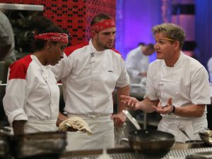 "HELL'S KITCHEN: L-R: Contestants Alison, Joshua and chef Ramsay during dinner service in the all-new, special two-hour ""7 Chefs Compete/6 Chefs Compete"" episode of HELL'S KITCHEN airing Tuesday, May 19 (8:00-10:00 PM ET/PT) on FOX. CR: Greg Gayne / FOX. © 2015 FOX Broadcasting Co."