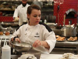 "HELL'S KITCHEN: Contestant Michelle during dinner service in the all-new, ""5 Chefs Compete"" episode of HELL'S KITCHEN airing Tuesday, May 26 (9:00-10:00 PM ET/PT) on FOX. CR: Greg Gayne / FOX. © 2015 FOX Broadcasting Co."