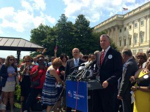 Mayor Bill de Blasio unveiling his progressive agenda in Washington today. (Photo: Jillian Jorgensen/New York Observer)