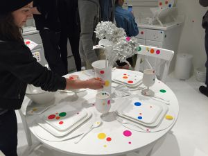 """Dots, dots, everywhere! Yayoi Kusama's """"The Obliteration Room"""" was a free-for-all for visitors with stickers. (Photo: Alanna Martinez"""