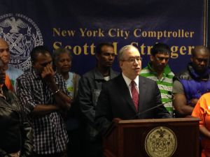 Comptroller Scott Stringer with immigrant workers today (Photo: Will Bredderman).