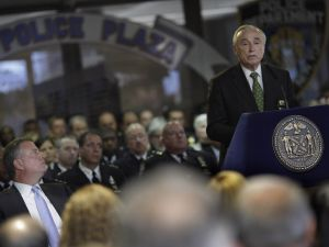 Police Commissioner Bill Bratton speaks during a One Police Plaza memorial service. (Photo: William Alatriste/New York City Council)