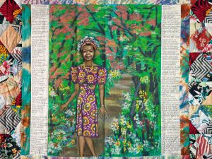 Faith Ringgold, Maya's Quilt of Life, acrylic on canvas with pieced fabric border, 1989. (Photo Courtesy of Swann Galleries)