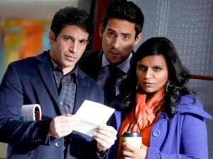 "THE MINDY PROJECT: Mindy (Mindy Kaling, R), Jeremy (Ed Weeks, C) and Danny (Chris Messina, L) discover a change in the office staff in the ""Two to One"" episode of THE MINDY PROJECT airing Tuesday, Dec. 4 (9:30-10:00 PM ET/PT) on FOX. ©2012 Fox Broadcasting Co. Cr: Jordin Althaus/FOX"