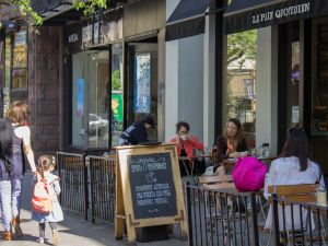Le Pain Quotidien, which offers refined fare in a chain-store environment is a good fit for Montague Street. (Photo by Cara Genovese for New York Observer)