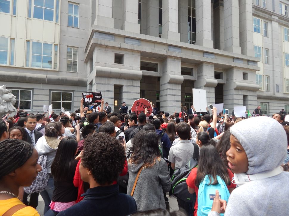 Newark youth protesters flood federal plaza calling for Christie to go