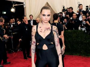 """Cara Delevingne, Costume Institute Benefit at Metropolitan Museum. Celebrate the Opening of """"China: Through the Looking Glass"""" Exhibition, May 04, 2015 (Photo credit: Nicholas Hunt/PatrickMcMullan.com)"""