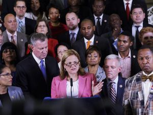 Council Speaker Melissa Mark-Viverito, Mayor Bill de Blasio and members of the City Council