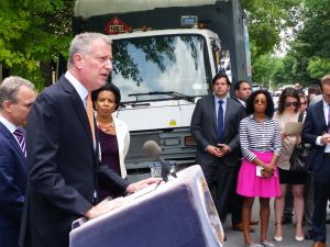 Mayor Bill de Blasio today. (Photo: Ross Barkan/New York Observer)