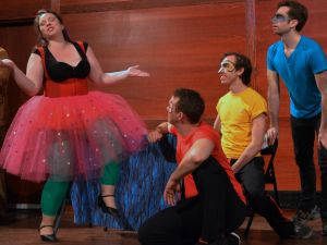 """Left to right Halley Gilbert as Zerbinetta with comedians Jonathan Rohr, Samuel Themer and Roman Laba in Utopia Opera's production of """"Ariadne auf Naxos"""" PHOTO CREDIT: Christine Moore"""