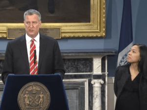 Mayor Bill de Blasio with incoming NYCEDC President Maria Torres-Springer (Screengrab: NYC Mayor's Office).