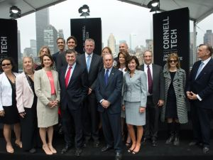 Mayor Bill de Blasio and Mayor Michael Bloomberg among those at the groundbreaking for the new Cornell Tech campus on Roosevelt Island. (Photo via @MikeBloomberg Twitter account)