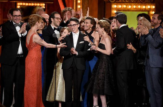 Alison Bechdel, shown on the stage of Radio City Music Hall, wrote the graphic novel on which Fun Home, winner of the 2015 Tony Award for Best New Musical, is based. Getty Images