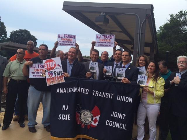 Fulop, labor leaders, Bergen Dems lash out at Christie, NJ Transit fare hikes as N.J. gov declares 2016 prez run