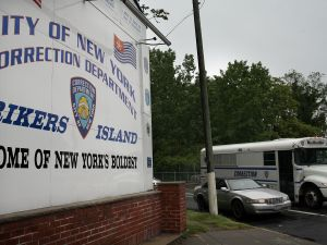 A view of the entrance to the Rikers Island prison complex (