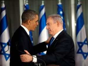 JERUSALEM , ISRAEL- MARCH 20: U.S. President Barack Obama (L) greets Israeli Prime Minister Benjamin Netanyahu during a press conference on March 20, 2013 in Jerusalem, Israel. This is Obama's first visit as President to the region, and his itinerary will include meetings with the Palestinian and Israeli leaders as well as a visit to the Church of the Nativity in Bethlehem. (Photo by Heidi Levine-Pool/Getty Images)