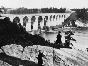 The High Bridge over the Harlem River, New York. Designed by American engineer John B Jervis as part of the Croton Aqueduct carrying water to New York City. (Photo by William England/Getty Images)