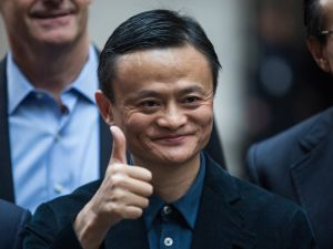 NEW YORK, NY - SEPTEMBER 19: Executive Chairman of Alibaba Group Jack Ma poses for a photo outside the New York Stock Exchange prior to the company's initial price offering (IPO) on September 19, 2014 in New York City. The New York Times reported yesterday that Alibaba had raised $21.8 Billion in their initial public offering so far. (Photo by Andrew Burton/Getty Images)