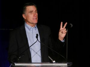 SAN DIEGO, CA - JANUARY 16: Mitt Romney speaks to fellow Republicans at a dinner during the Republican National Committee's Annual Winter Meeting aboard the USS Midway on January 16, 2015 in San Diego, California. Romney is contemplating a possible 2016 presidential run. (Photo by Sandy Huffaker/Getty Images)