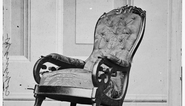 WASHINGTON, DC - APRIL: In this image from the U.S. Library of Congress, the rocking chair used by of U.S. President Abraham Lincoln at Ford's Theater is seen April ,1865 in Washington, DC. (Photo by U.S. Library of Congress via Getty Images)