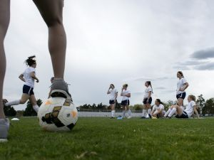 Members of the University of Mary Washington Women's Soccer team practice April 16, 2015 at the University of Mary Washington, a coed school and Division III member of the National Collegiate Athletic Association, in Fredericksburg, Virginia. The 2015 FIFA Women's World Cup, hosted by Canada, will be held from June 6th to July 5th. AFP PHOTO/BRENDAN SMIALOWSKI