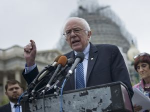 US presidential candidate Senator Bernie Sanders (I-VT) speaks during an event on the Trans Pacific Partnership on Capitol Hill June 3, 2015 in Washington, DC. AFP PHOTO/BRENDAN SMIALOWSKI (Photo credit should read BRENDAN SMIALOWSKI/AFP/Getty Images)