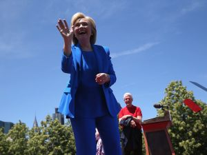 Hillary Clinton kicking off her campaign. (Photo: John Moore/Getty Images)