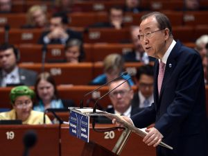 United Nations (UN) General Secretary Ban Ki-moon adresses the Parliamentary Assembly of the Council of Europe in Strasbourg, eastern France, on June 23, 2015. AFP PHOTO/FREDERICK FLORIN (Photo credit should read FREDERICK FLORIN/AFP/Getty Images)
