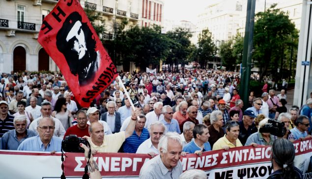 ATHENS, GREECE - JUNE 23: Pensioners take part in an anti-austerity protest organized by pensioners' unions on June 23, 2015 in Athens, Greece. This week, Greece offered a series of measures, including multiple tax increases and pension cuts, to persuade its creditors to release bailout funds and keep the country from defaulting on its debts as soon as next week.
