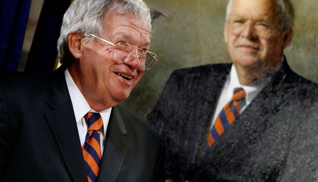 WASHINGTON - JULY 28: Former House Speaker Dennis Hastert of Illinois attends the unveiling of his portrait at the U.S. Capitol July 28, 2009 in Washington, DC. Hastert is the longest serving Republican speaker, holding the post from 1999-2007. (Photo by Chip Somodevilla/Getty Images)