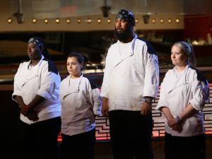 "HELL'S KITCHEN: L-R: Contestants T, Michelle, MIlly and Meghan in the all-new, ""4 Chefs Compete"" episode of HELL'S KITCHEN airing Tuesday, June 2 (9:00-10:00 PM ET/PT) on FOX. CR: Greg Gayne / FOX. © 2015 FOX Broadcasting Co."