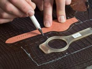 Cutting Alligator Leather for the New Hermès Piece (Photo: Allison Kelso)
