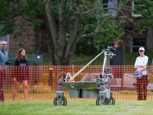 The Los Angeles team Survey's robot during last year's competition. Photo Credit: (NASA/Joel Kowsky)