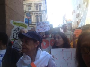 Tenant advocates call for a rent rollback outside Cooper Union before the Rent Guidelines Board vote.