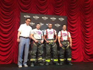 FDNY Comissioner Dan A. Niro with first responders and calendar models Miguel Ruiz, Anthony Montanez and Ralph Ciccarell