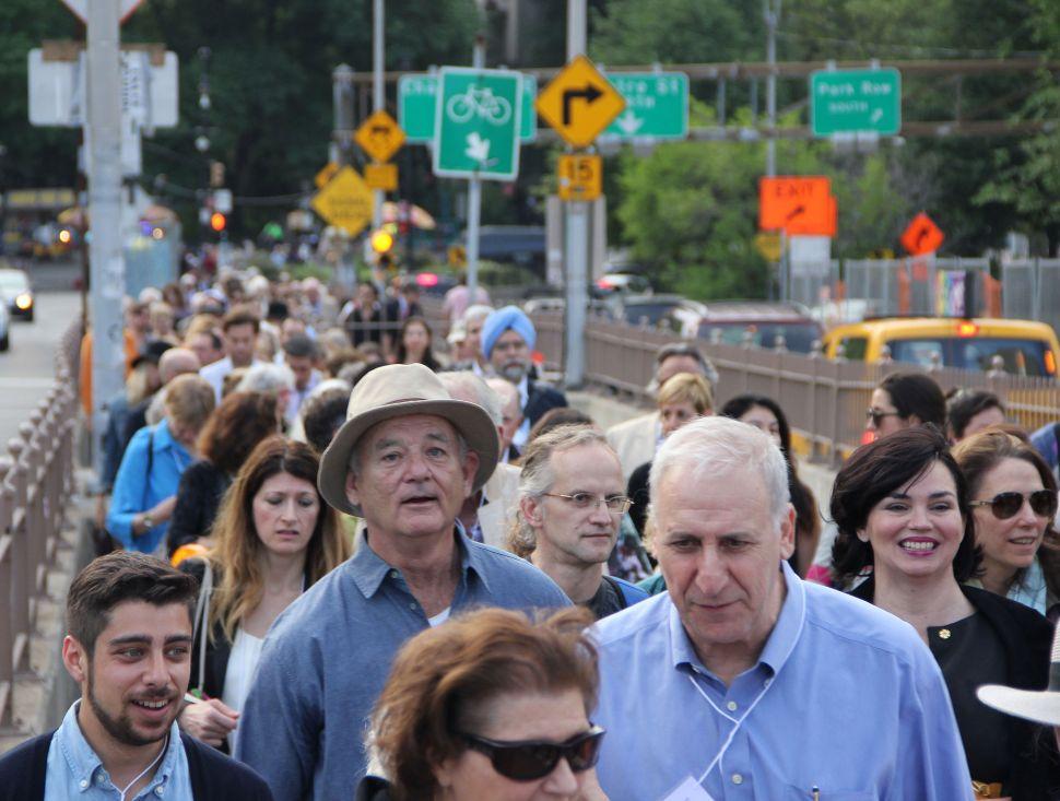 Bill Murray Joins Poets House's Annual Walk Across The Brooklyn Bridge