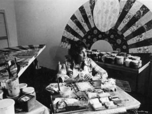 Miriam Schapiro in the studio, 1980. (Photo: Courtesy Flomenhaft Gallery)