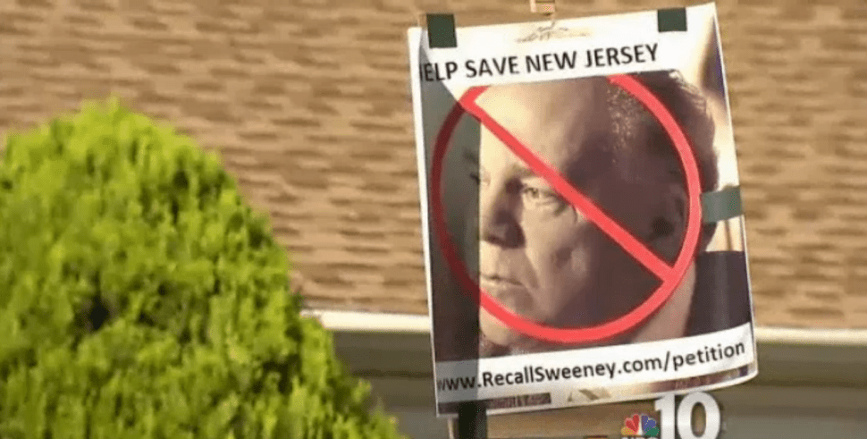 NJ pro-gun law protesters post up on Sweeney's front lawn