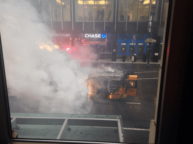 This Taxi Is on Fire in Midtown