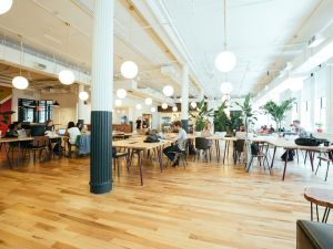 WeWork's Chelsea office, one of the locations where cleaners who work for a subcontractor are trying to organize. (WeWork)
