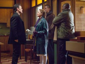 "WAYWARD PINES: Pam (Melissa Leo, second from L) pays a visit to Ethan (Matt Dillon, L) in the ""One of Our Senior Realtors Has Chosen to Retire"" episode of WAYWARD PINES airing Thursday, June 4 (9:00-10:00 PM ET/PT) on FOX. ©2015 Fox Broadcasting Co. Cr: Liane Hentscher/FOX"