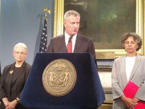 Mayor Bill de Blasio today. (Photo: Ross Barkan/New York Observer)