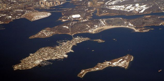 An aerial view of Hart Island. (Doc Searles/flickr)