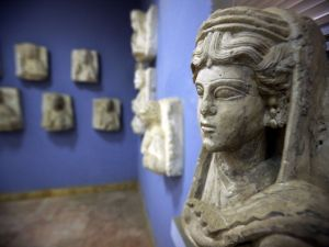 A sculpture found in Palmyra, now displayed at the city's museum. (Photo: Joseph Eid/AFP/Getty Images)