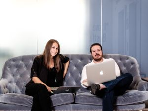 Bryan Goldberg and Kate Ward. Shot at Bustle offices, 158 West 27th Street, 11th Floor, NY, NY. Chris Sorensen/For New York Observer